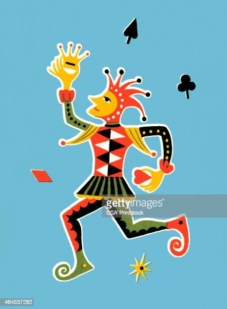 court jester - joker card stock illustrations, clip art, cartoons, & icons