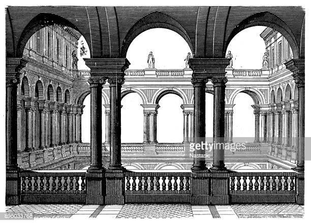 ローマのパラッツォ ボルゲーゼの裁判所。16 世紀の終わりの方のマルティーノ Lunghi によって建てられました。