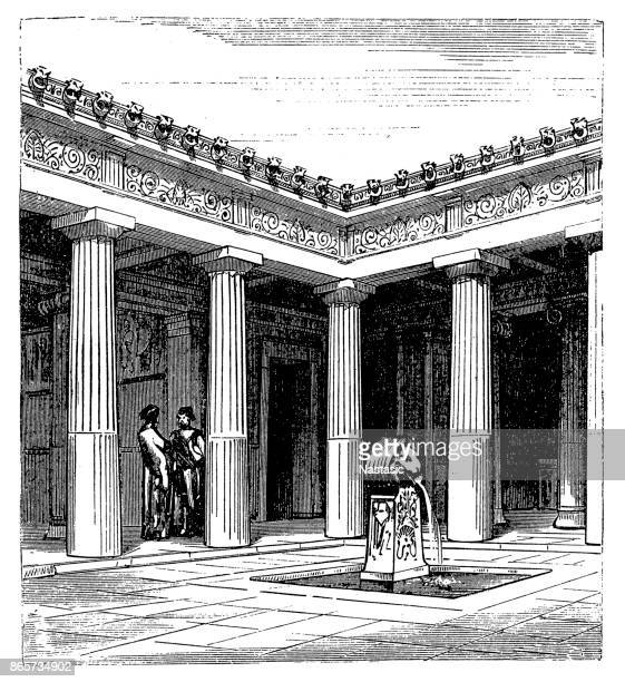 courtyard of an athenian residential building, by eugène viollet-le-duc (1814-1879) - athens georgia stock illustrations, clip art, cartoons, & icons