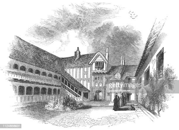 Courtyard of Lord Leycester Hospital in Warwick, England - 17th Century