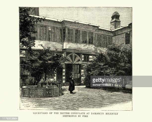 courtyard of the british consulate at damascus 19th century - damascus stock illustrations