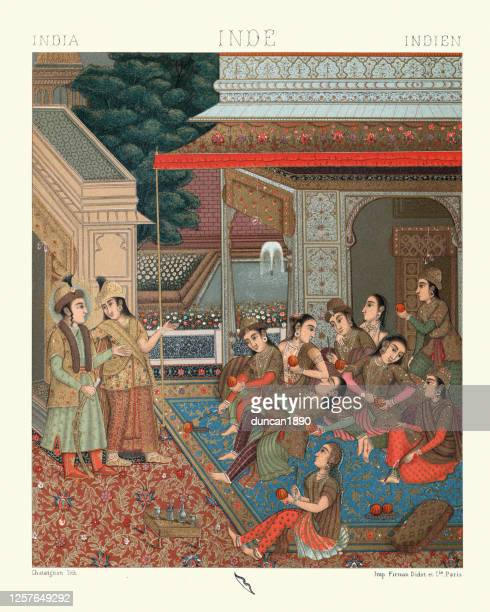 courtyard of the seraglio, mughal empire, india - mughal empire stock illustrations