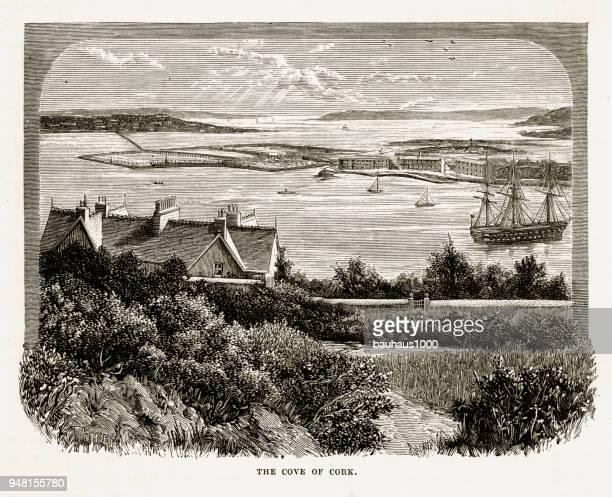 Cove of Cork, County Cork, Ireland Victorian Engraving, 1840