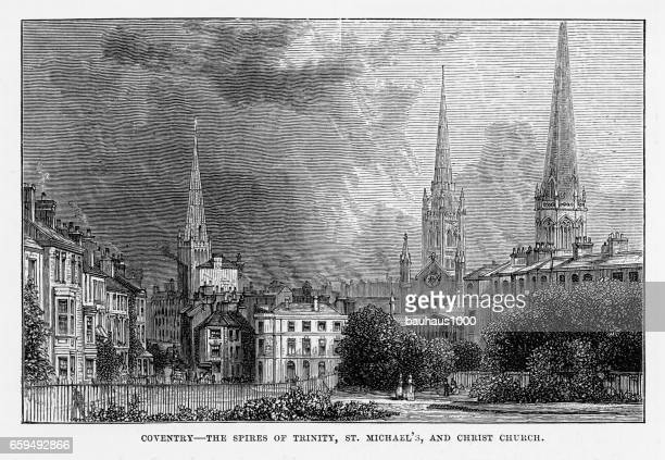 coventry, litchfield, warwickshire, england victorian engraving, 1840 - spire stock illustrations, clip art, cartoons, & icons