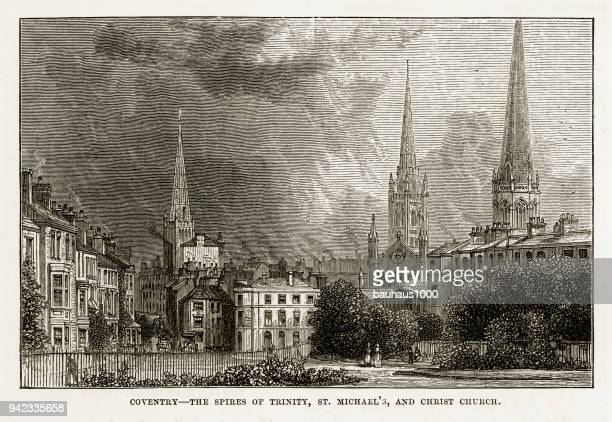 Coventry, Litchfield, Warwickshire, England Victorian Engraving, 1840