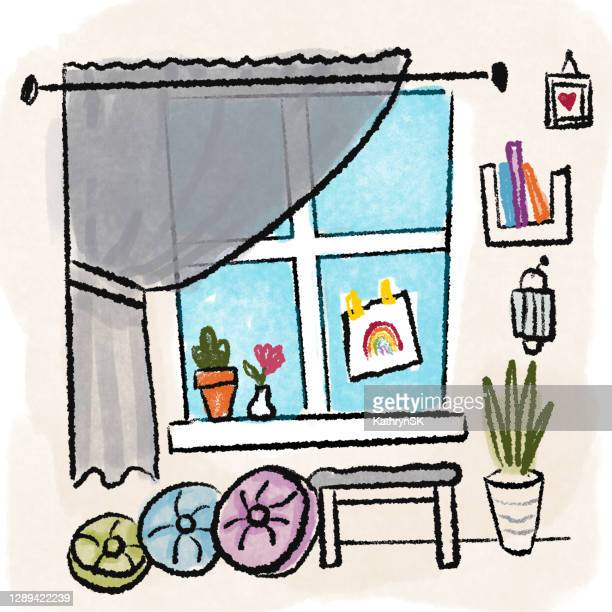 covid interior room lockdown scene - kathrynsk stock illustrations