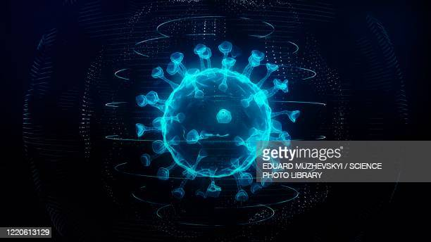 covid-19 coronavirus particle, illustration - artistic product stock illustrations