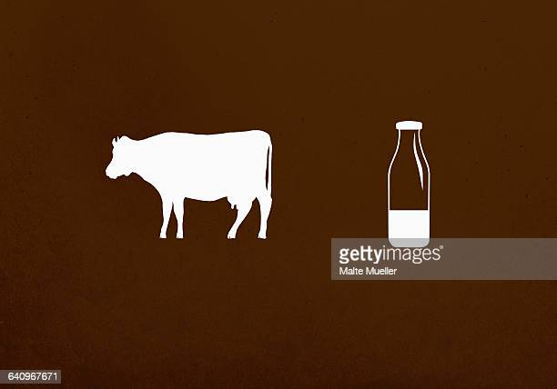 cow and milk bottle against brown background - cow stock illustrations