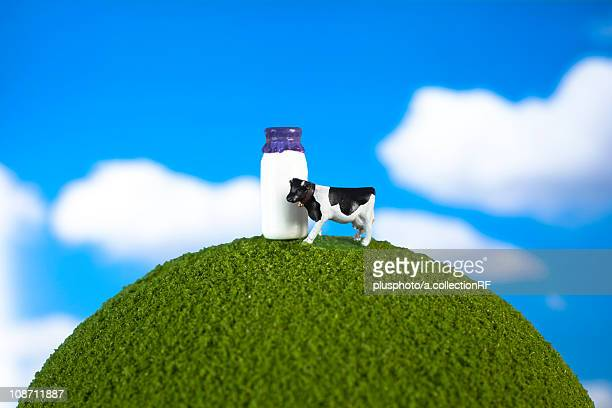 Cow and milk on globe