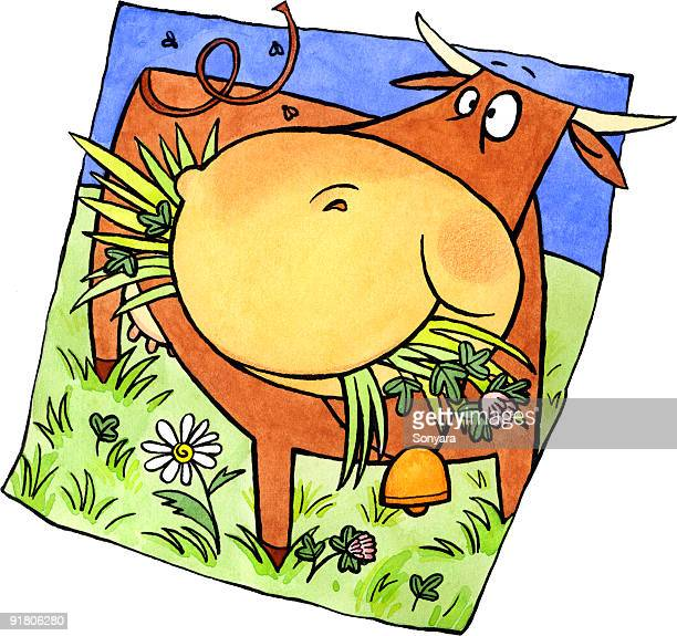 a cow eating grass in a pasture - paddock stock illustrations, clip art, cartoons, & icons