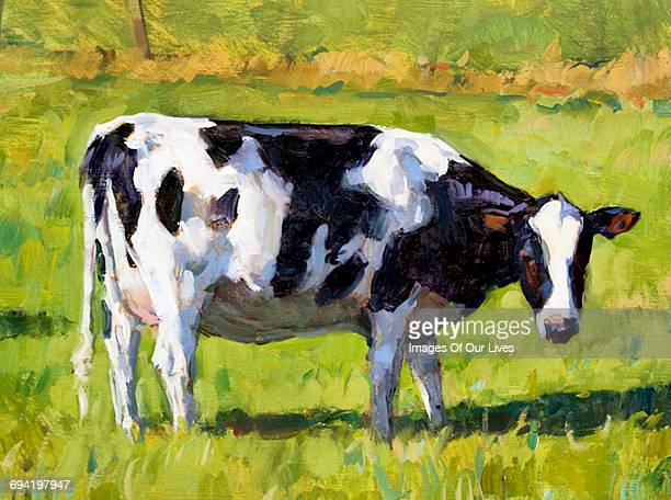 cow in field - painted image stock illustrations
