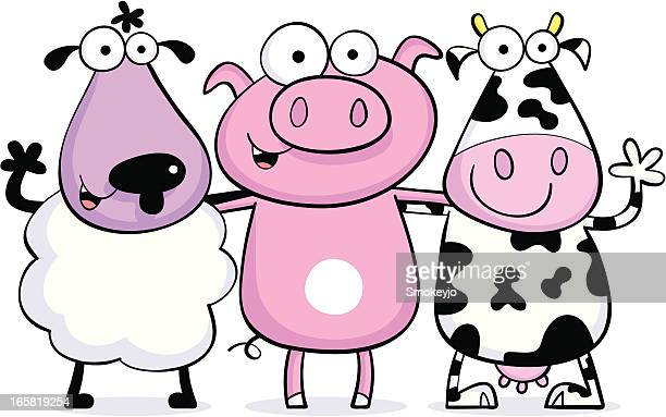 cow pig sheep friends - sheep stock illustrations, clip art, cartoons, & icons