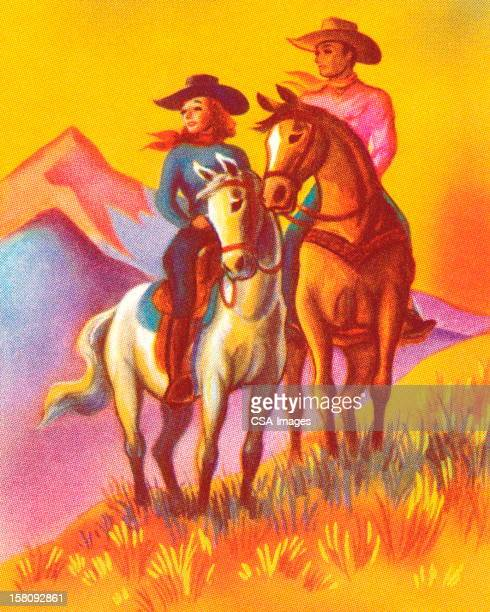 Cowboy and Cowgirl Riding Horses
