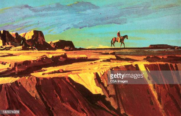 cowboy and horse on cliff - horseback riding stock illustrations, clip art, cartoons, & icons