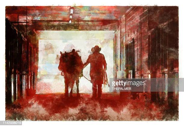 cowboy at a horse stable - digital photo manipulation - ranch stock illustrations