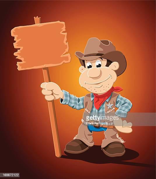 Cowboy Cartoon Man Blank Sign