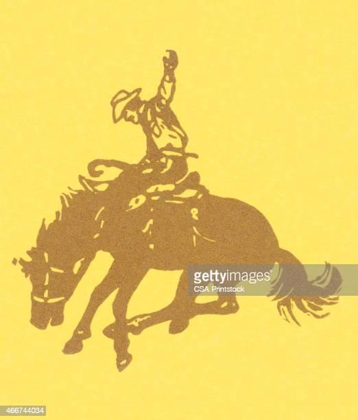 ilustrações de stock, clip art, desenhos animados e ícones de cowboy - rodeio