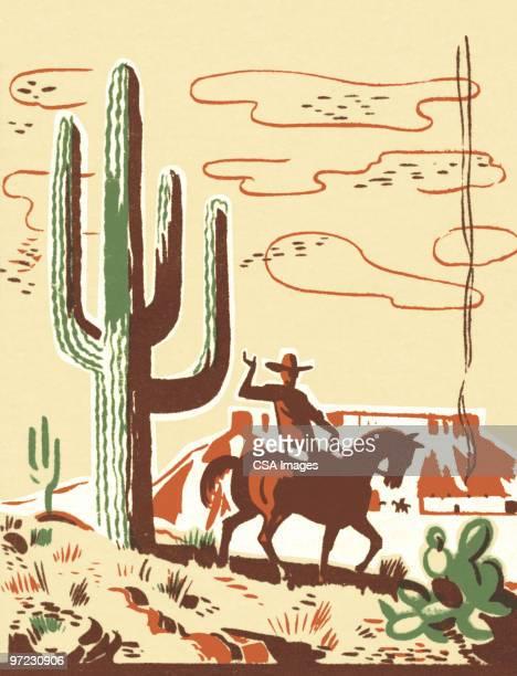 ilustraciones, imágenes clip art, dibujos animados e iconos de stock de cowboy - cactus