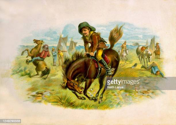 cowboy on a bucking horse - tame stock illustrations