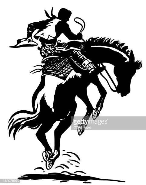 cowboy on bucking horse - cowboy stock illustrations, clip art, cartoons, & icons