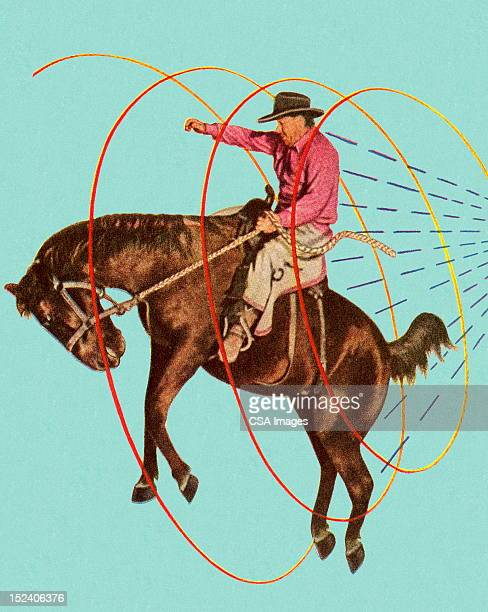 cowboy on bucking horse - ranch stock illustrations