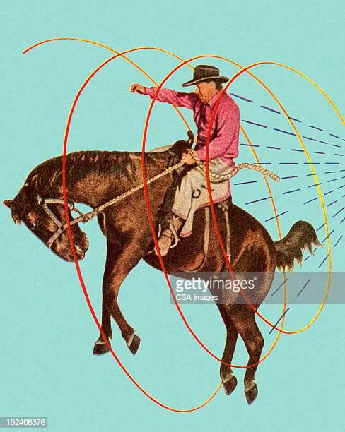 ilustrações de stock, clip art, desenhos animados e ícones de cowboy no resistindo cavalo - rodeio