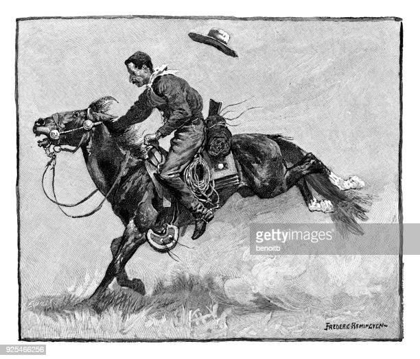 ilustrações de stock, clip art, desenhos animados e ícones de cowboy on bucking horse - rodeio
