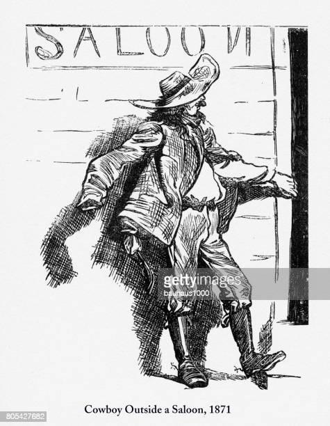 illustrations, cliparts, dessins animés et icônes de cow-boy à l'extérieur d'un saloon, début américain gravure, 1871 - vagabond
