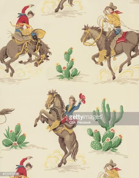 cowboy pattern - cowboy stock illustrations, clip art, cartoons, & icons