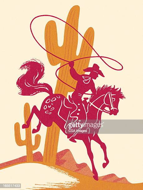 cowboy riding a horse in the desert - ranch stock illustrations