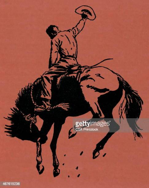 cowboy riding a horse on an orange background - horseback riding stock illustrations, clip art, cartoons, & icons
