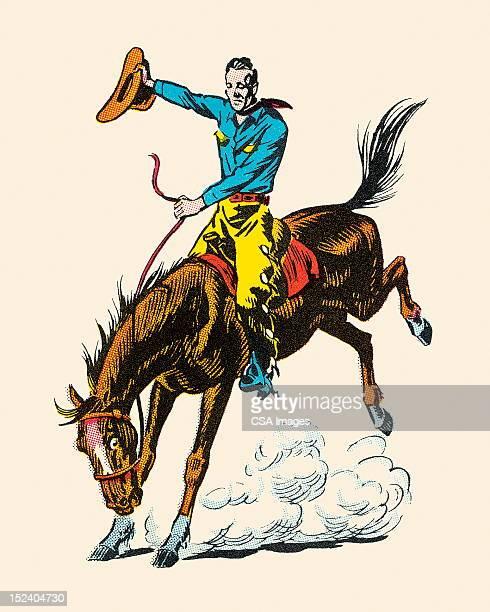 cowboy riding bucking bronco - cowboy stock illustrations, clip art, cartoons, & icons