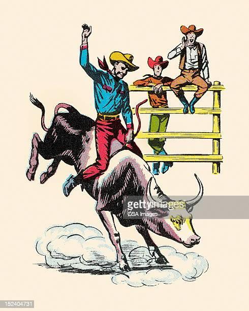 ilustrações de stock, clip art, desenhos animados e ícones de cowboy equitação resistindo de bois - rodeio