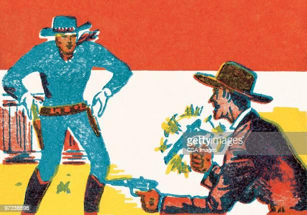 cowboy shootout - american culture stock illustrations