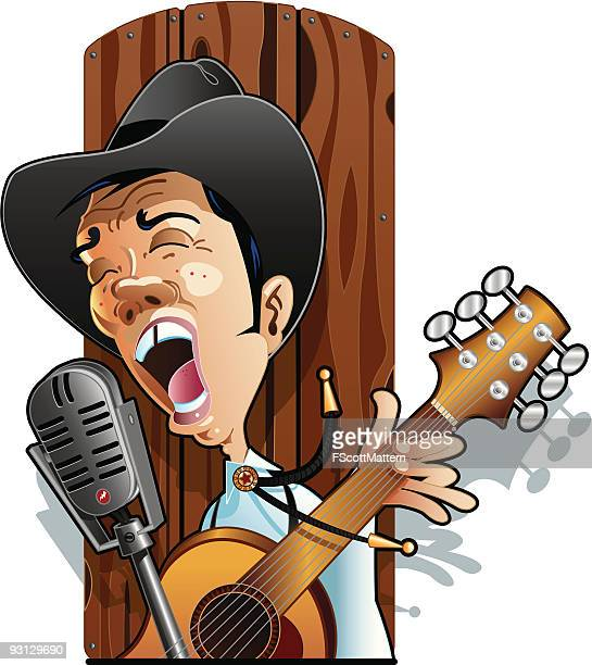 cowboy singer - microphone stand stock illustrations