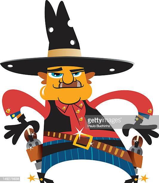 ilustrações de stock, clip art, desenhos animados e ícones de a cowboy with his hands near his holster - buchinho