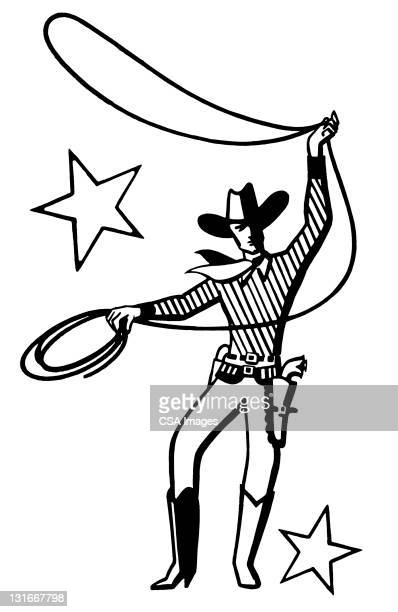cowboy with lasso - american culture stock illustrations