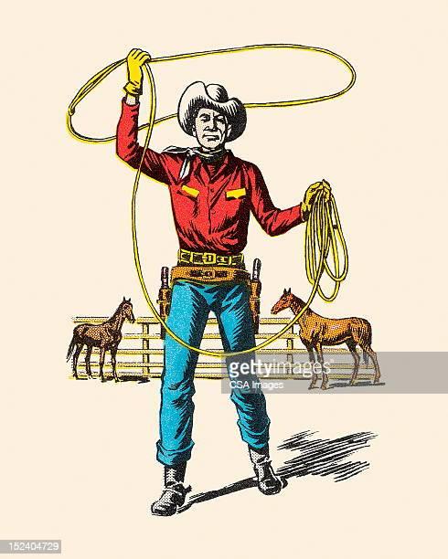 ilustrações de stock, clip art, desenhos animados e ícones de cowboy com laço de corda - rodeio