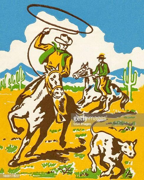 cowboy wrangling a calf - cowboy stock illustrations, clip art, cartoons, & icons