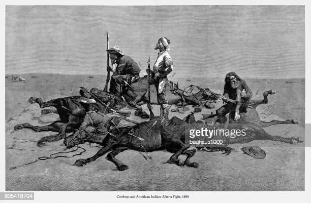 Cowboys y Indios americanos después de una lucha grabado, 1888