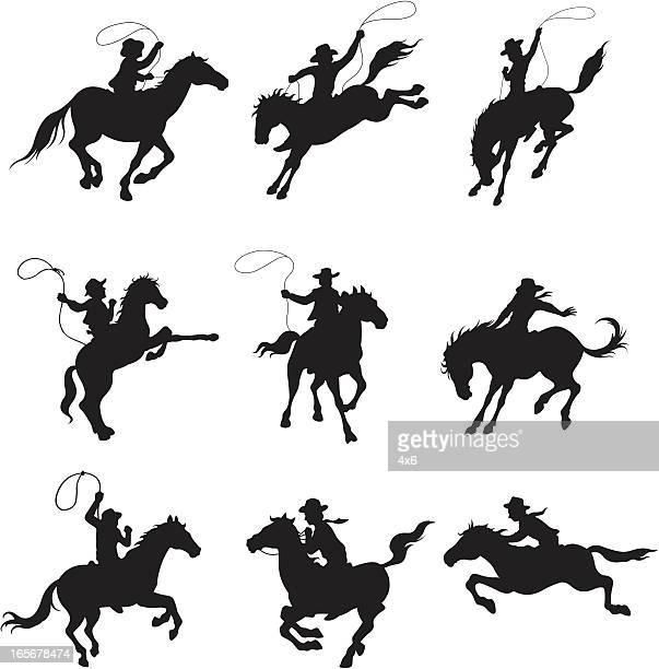 ilustrações de stock, clip art, desenhos animados e ícones de cowboys em cavalos de rodeio equilíbrio - rodeio