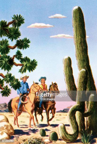 cowboys in the desert - american culture stock illustrations