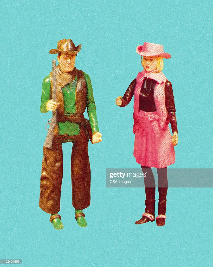 Cowgirl and Cowboy : stock illustration