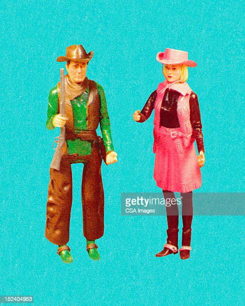 cowgirl and cowboy - figurine stock illustrations, clip art, cartoons, & icons
