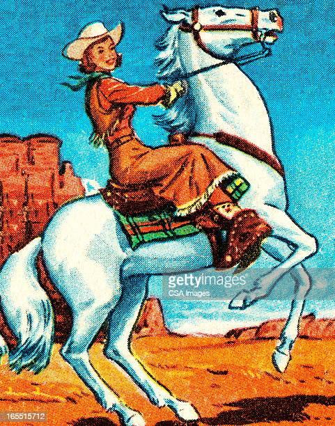 illustrations, cliparts, dessins animés et icônes de cow-girl sur un cheval - cowgirl
