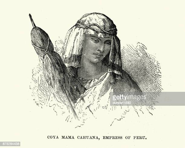 coya mama cahuana empress of peru - empress stock illustrations, clip art, cartoons, & icons