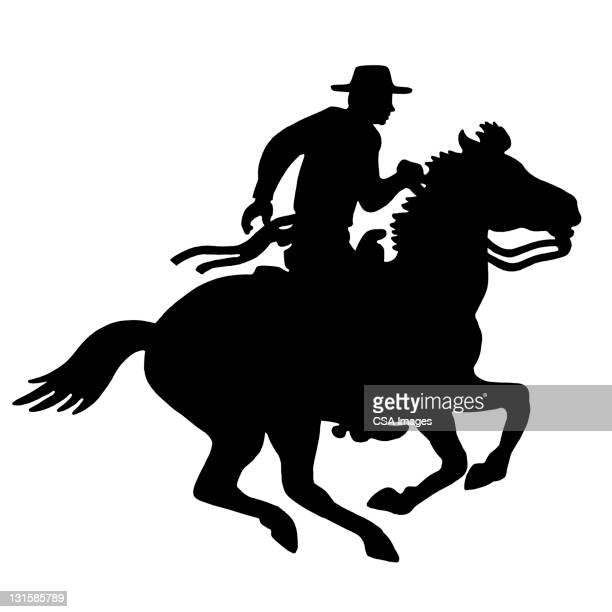 coyboy riding horse - design element stock illustrations