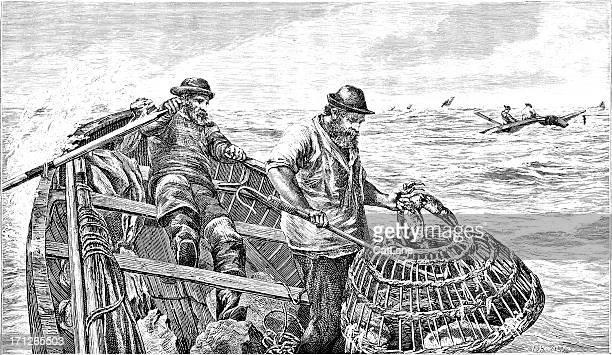 ilustraciones, imágenes clip art, dibujos animados e iconos de stock de victoriano crabbers-ilustración - red de pesca