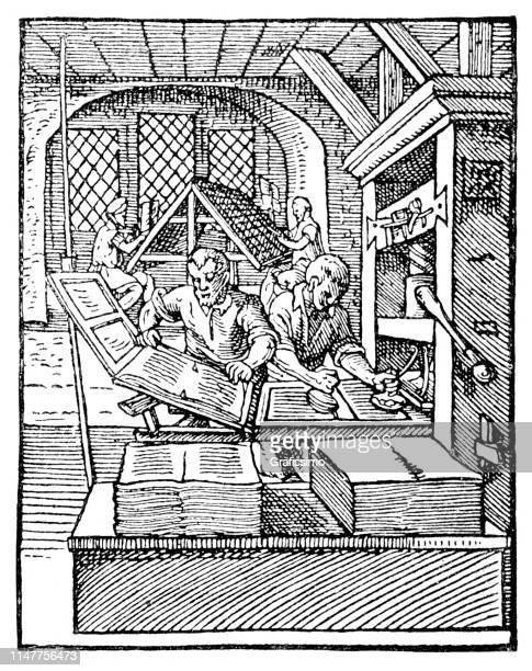 craftsmen working in print shop printing books 16th century - publisher stock illustrations