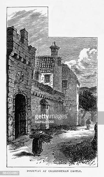 craignethan castle in south lanarkshire, scotland victorian engraving, circa 1840 - clyde river stock illustrations, clip art, cartoons, & icons